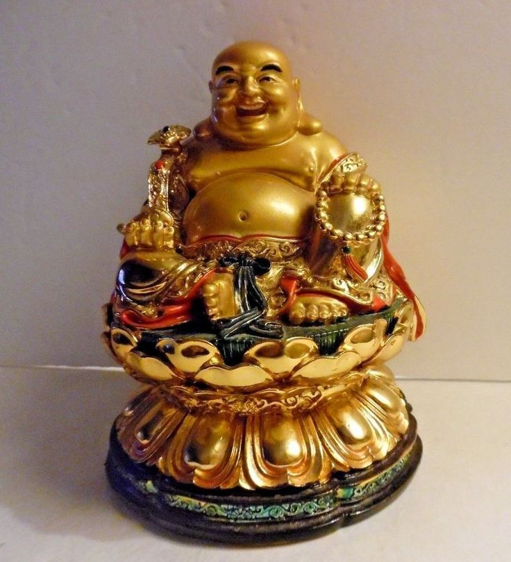 Happy Buddha Gold Figurine Sitting On Green Coin In Lotus On Pedestal