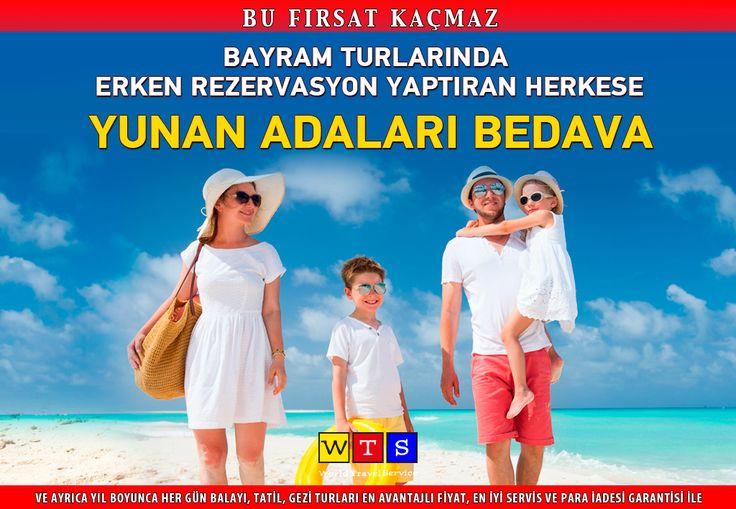 31 Mayıs'a kadar #RamazanBayramı ya da #KurbanBayramı tatillerine rezervasyon yaptıran herkese #YunanAdaları tatili WTS'nin hediyesidir.