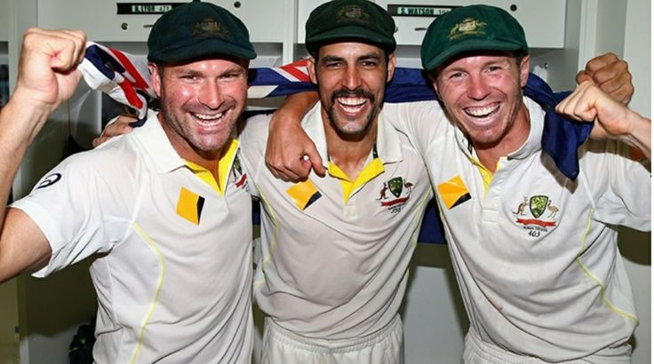 Ryan Harris, Mitchell Johnson and Peter Siddle in Perth. These three quicks are part of an Australian team to win back the Ashes in 2013.