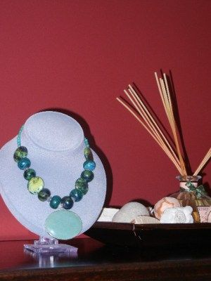 Turquoise, Chinese Azurite & Sterling Silver Necklace