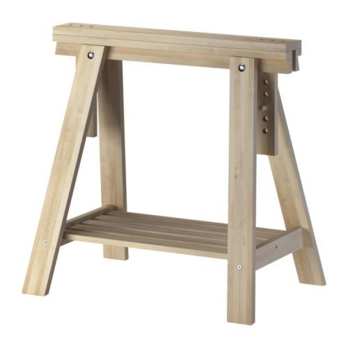 IKEA - FINNVARD, Trestle with shelf, birch, , Solid wood is a durable natural material.You can choose a flat or tilted table top, which is good for…