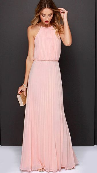 Pink Chiffon Maxi Dress features flowy chiffon fabric. Long-length cut make…