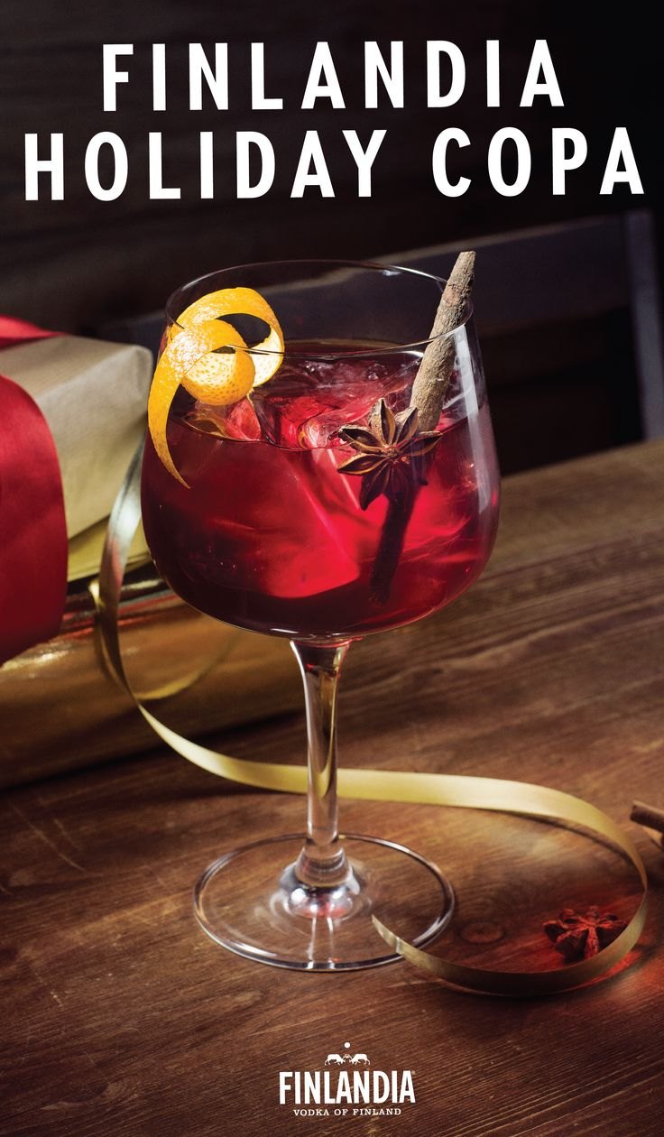 We'd meet this Finlandia Holiday Copa cocktail under the mistletoe any day of the week. Inspired by the rich jewel colors of winter, this festive drink recipe combines 2 oz. of Finlandia Grapefruit Vodka with 4 oz. of blackcurrant Juice and a dash of soda water. Garnish with cinnamon, star anise, and an orange peel before serving this crowd-pleasing beverage.