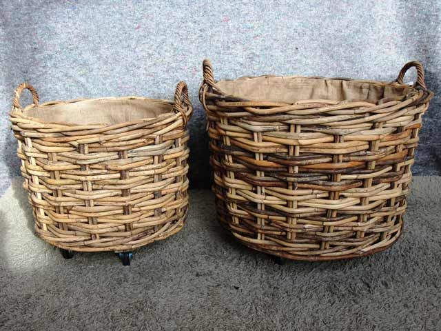 Chambers Round Baskets With Wheels #basket #lstove #fireside #logstore