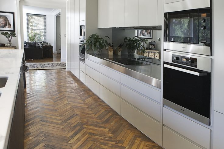 Antique French Oak Parquetry in Herringbone Pattern