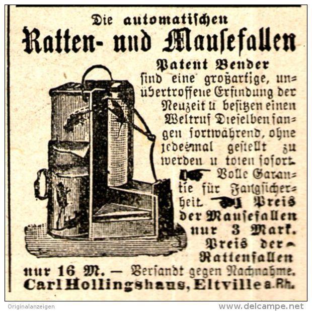 Original-Werbung/ Anzeige 1897 - RATTEN - UND MAUSEFALLEN / CARL HOLLINGSHAUS - ELTVILLE - ca. 45 x 45 mm