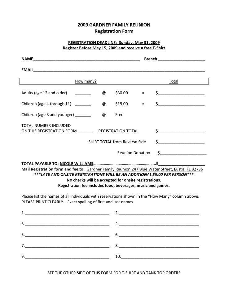 Family Reunion Registration Form Template  Enrolment Form Template