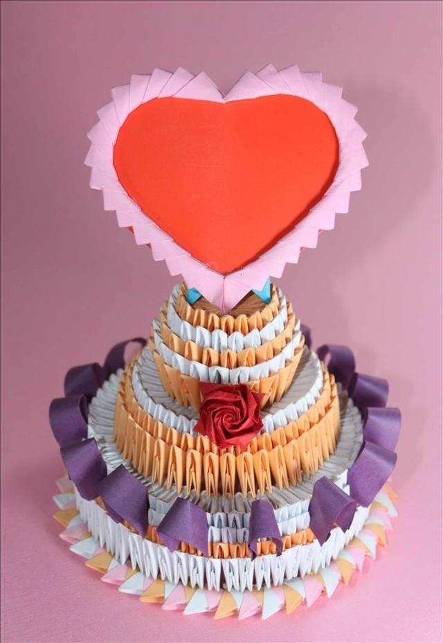 3D Origami - Valentines Cake