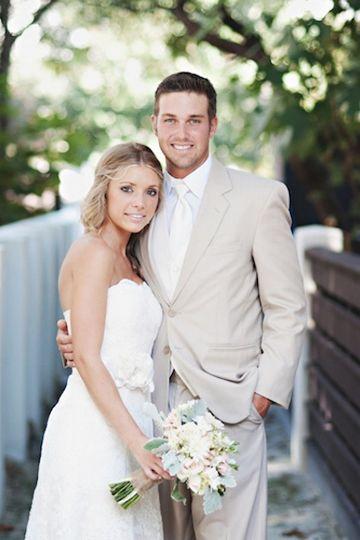 Tan and white wedding dress.