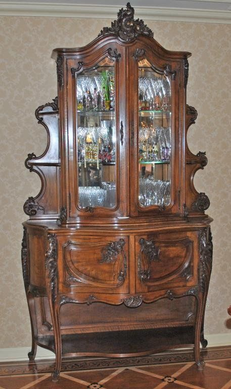 LOUIS XV STYLE CARVED WALNUT DISPLAY CABINET : Lot 58