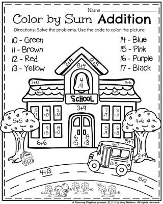 First Grade Worksheets for Back to School - Color by Sum Addition Worksheet.
