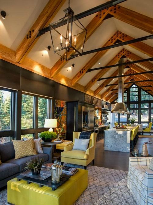 love the beams and high ceilings in the HGTV Dream Home 2014 Lake Tahoe living room 4