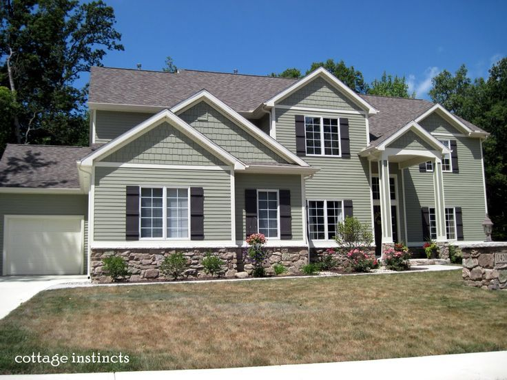 Building Exterior Sage Siding Farmhouse : Sage green house with white shutters google search