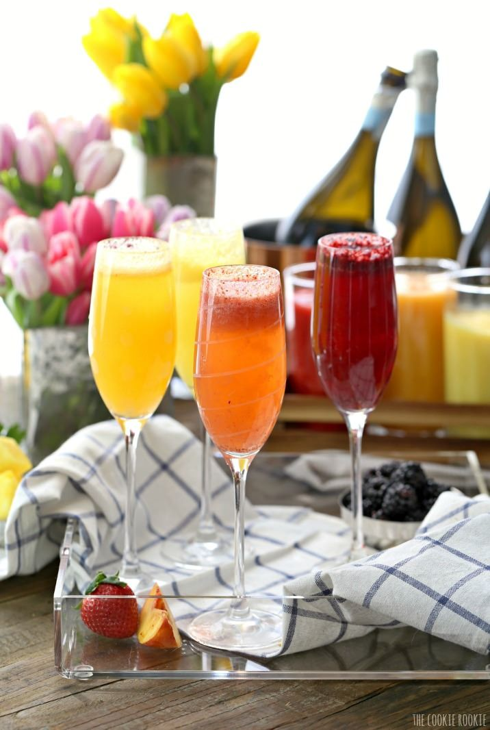 Homemade Bellini Bar - Made easy with fruit purees and Prosecco! You can use sparkling water for a tasty non-alcoholic brunch or breakfast.