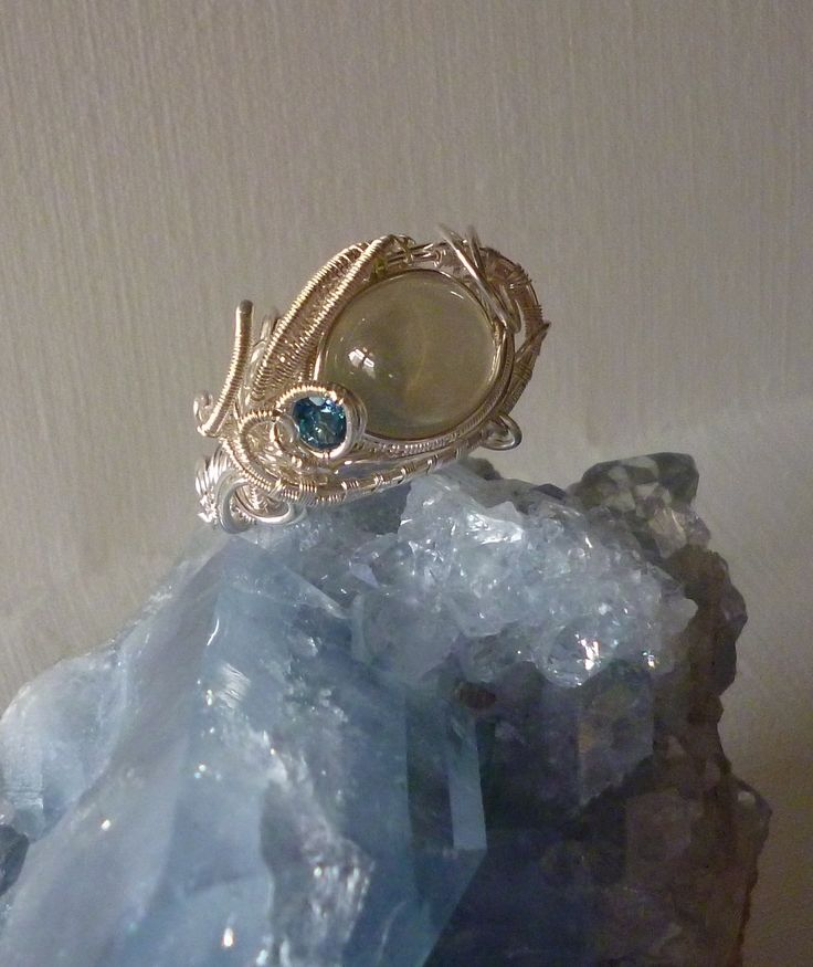 """Rolling In The Deep"" Ring. Real Moonstone, Aquamarine, Pure Silver"