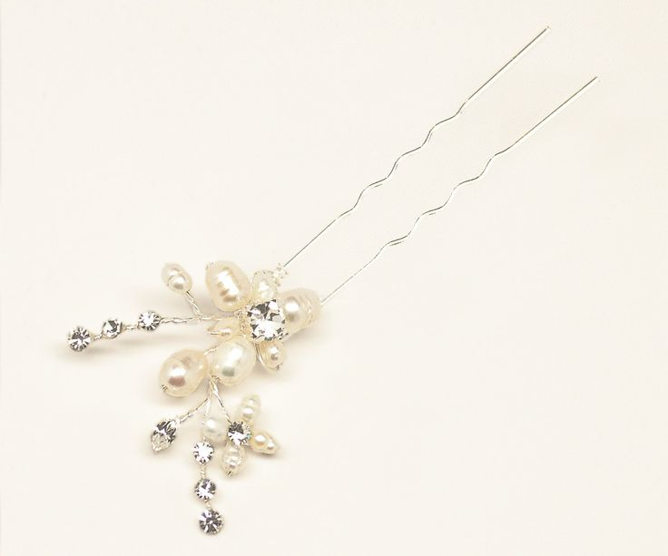 "Pearl and Rhinestone Flower Hair Pin ~ ""Camille"" - Bridal Hair Accessories by Hair Comes the Bride"