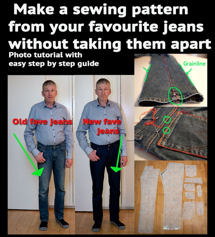 Easy step by step guide to making a sewing pattern from your favourite jeans.
