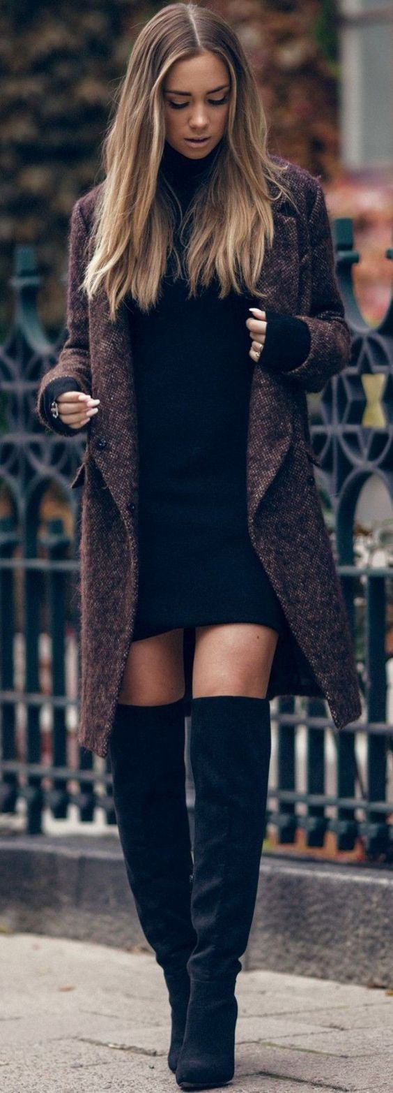 #Winter #Outfits / Brown Duster Coat + Knee Length Boots