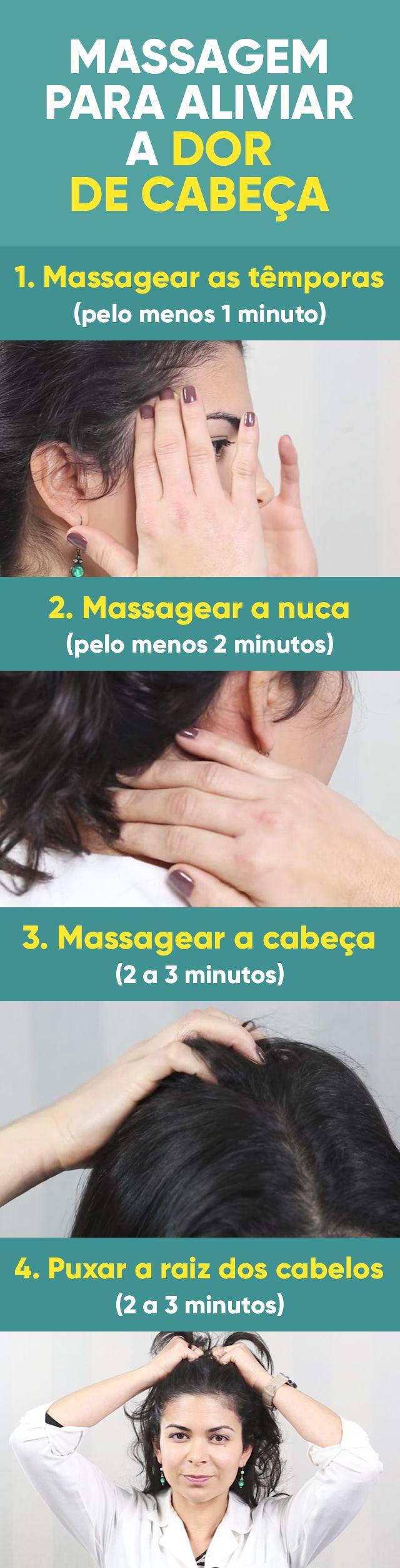 Uma boa massagem para dor de cabeça consiste em pressionar levemente com movimentos circulares alguns pontos estratégicos da cabeça, como têmporas, nuca e o topo da cabeça.