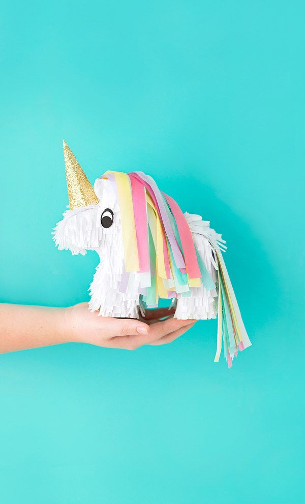 Celebrate with a itty bitty unicorn piñata. | 25 DIY Projects That Will Fill You With Joy
