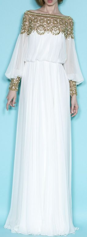 Marchesa jalabiya // gold embroidered floor-length gown with sleeves // perf