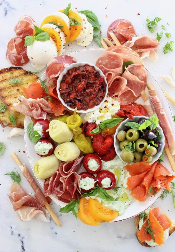 Italian Style Antipasto Platter with Roasted Peppers, Tapenade, Prosciutto, Salami, Smoked Salmon and Whipped Cheese | CiaoFlorentina.com @CiaoFlorentina