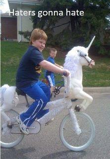 you ride that unicorn bike kid! @Katie Hrubec Chaffin pegasisters and bronies unite!