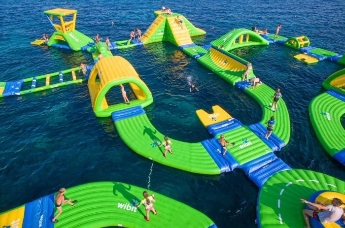 This new aqua park is a blast, offering everything from a floating obstacle course to inflated slides - all weightlessly perched on a giant lake of H2O.