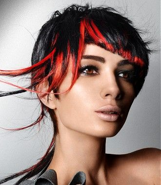 A Short Black Straight Coloured Multi Tonal Red Highlights