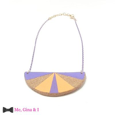 Lilac & orange semicircle short necklace made of cork.