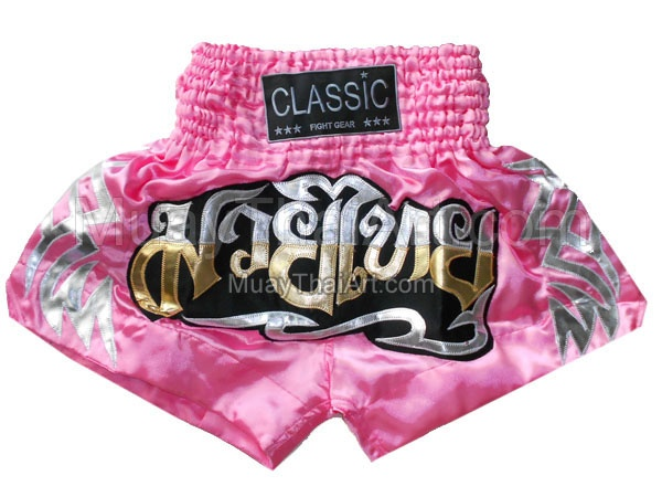 Classic Pink Muay Thai Kickboxing shorts : CLS-009