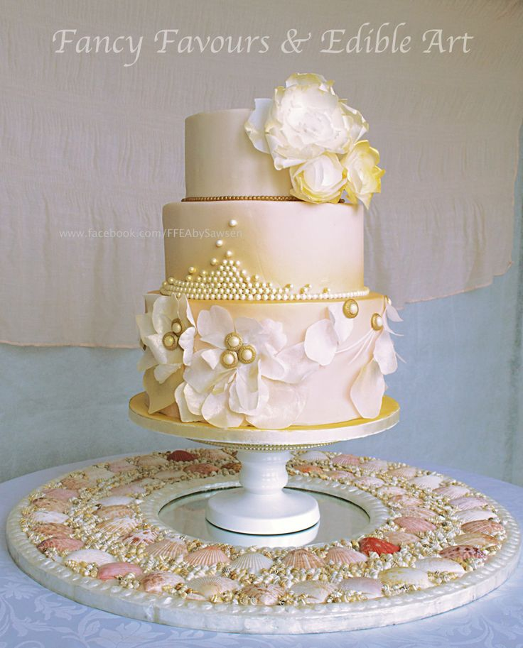 Soft Peach Pearl Gold Wedding Cake