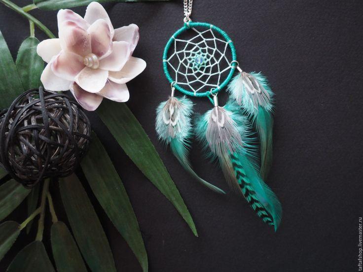 Кулон с перьями - Отражение луны на воде, ловец снов, мятный - перья, перо, бохо
