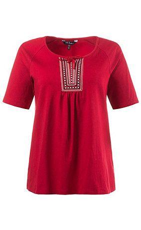 70607450 - shirt. Shirt met etnostiksel en koord aan de hals met split. Korte raglanmouwen. Type: classic. materiaal: 95% viscose, 5% elastaan. Aan de maat aangepaste lengte ca. 68 - 78 cm.