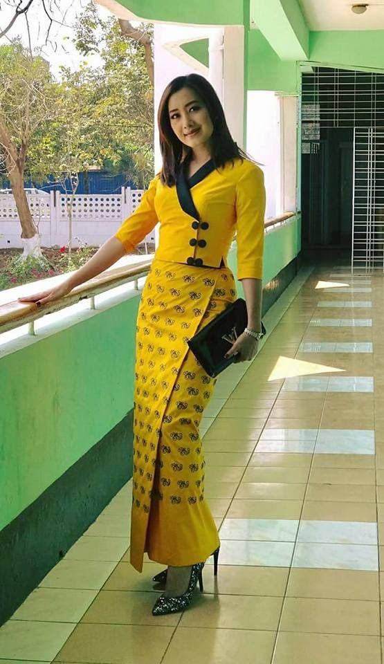 Myanmar lady   Myanmar dress design, Myanmar clothes