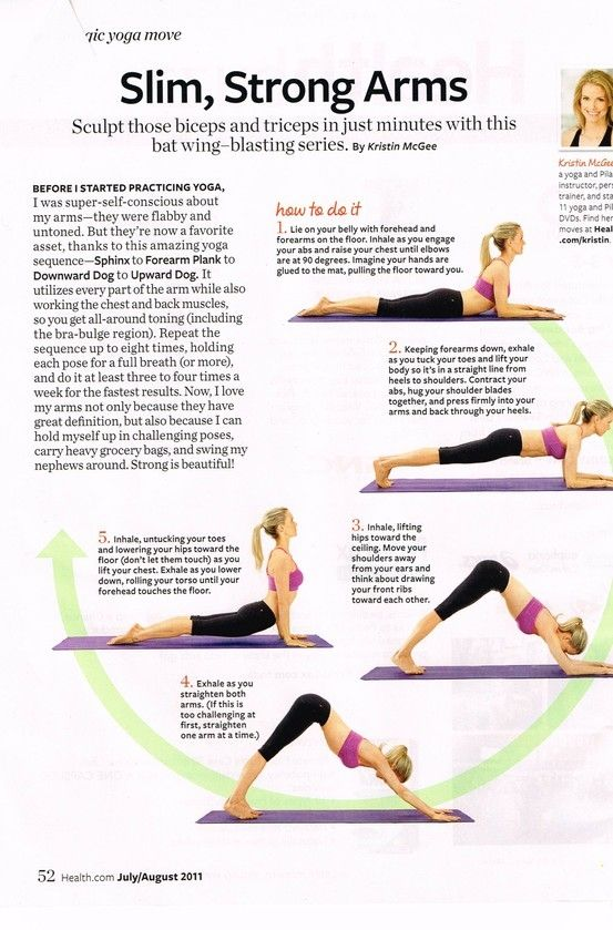 Yoga poses for slimmer arms. Someday I will do all 5. Impressed I can get through three...thanks Blogilates! A month and a half ago, I couldn't have done that much.