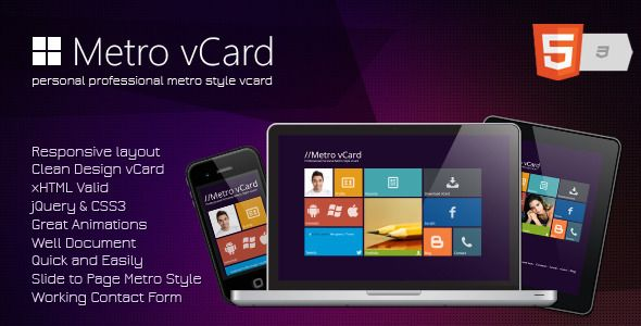 Metro vCard - Responsive Metro Style vCard - ThemeForest Item for Sale