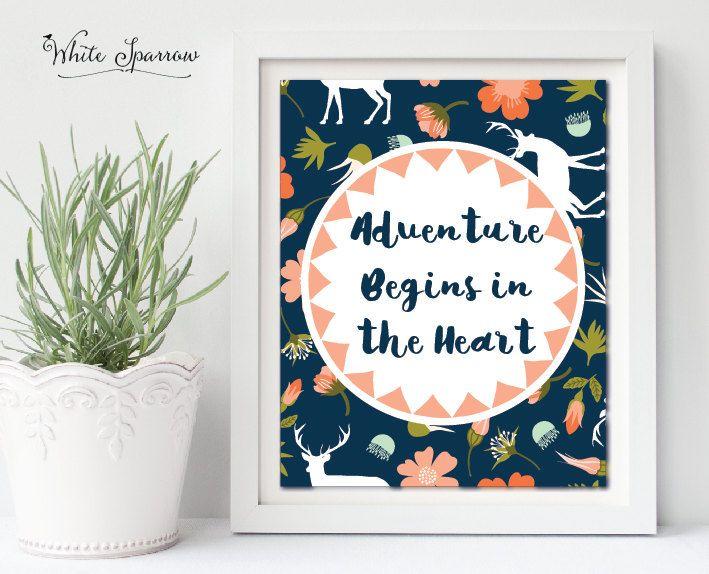 Woodland Print, Nursery art printable, boys room art, Wall art, nursery decor, Adventure print, childrens art, Wall decor, Wall print, boy by WhiteSparrowPrints on Etsy