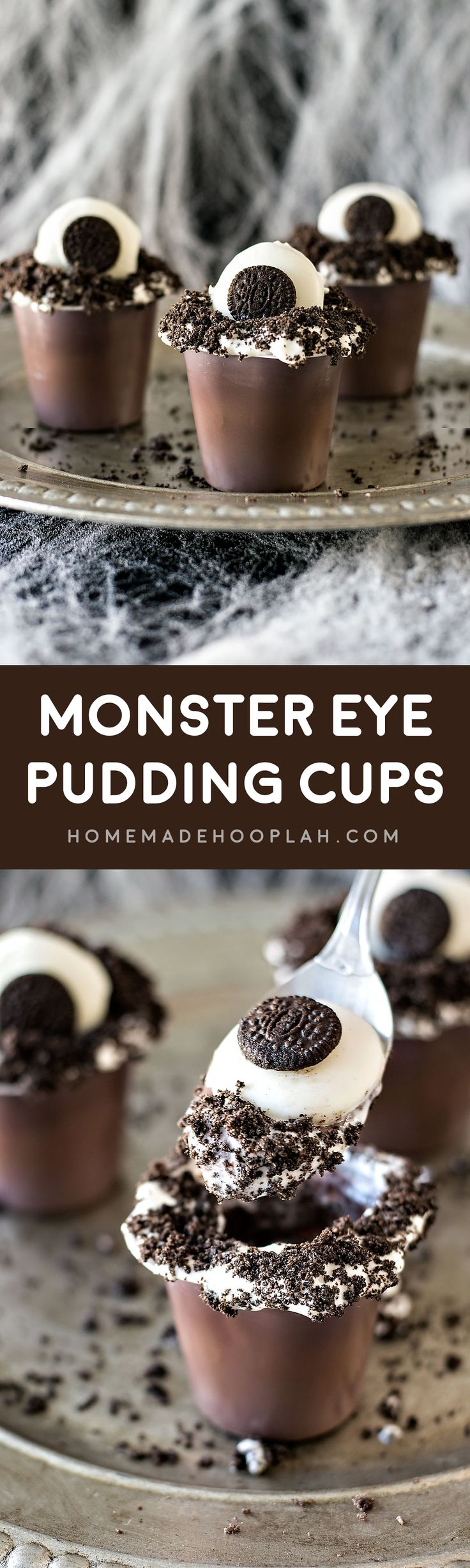 Monster Eye Snack Packs! Creepy, easy, and fun, these festive pudding cups use only 5 ingredients and are kid friendly. Perfect for a Halloween movie night! | HomemadeHooplah.com #SnackPackMixIns #ad @walmart