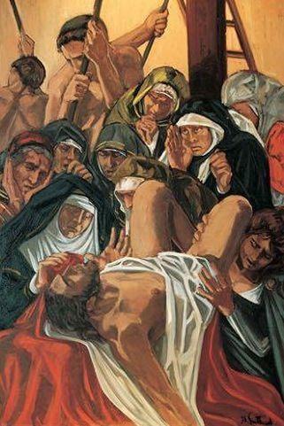 Dolores Puthod deposizione 1990 olio su tela cm. 100x150   collezione privata