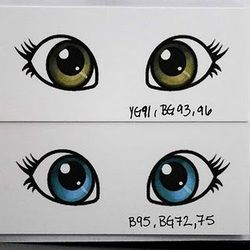 Eye coloring practiceTutorials, Copic Colors, Eye Colors, Whimsy Doodles, Eye Tutorial, Blue Eyes, Colours Eye, Digital Stamps, Copic Markers