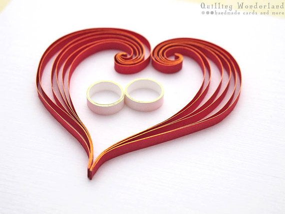Wedding congratulations card paper quilling wedding bands quilling hearts read white gold on Etsy, $7.90