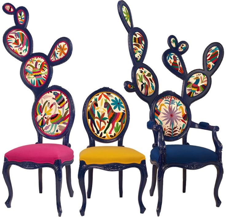 Mexican designer Valentina Gonzalez Wohlers has cleverly and humorously transformed the classic French Louis XV oval chair into the shape of a Nopal cactus. Add multicolored Otomi upholstery and I officially need at least one in my home, so colorful and different!