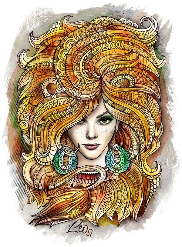 "Zodiac illustration ""LEO"" by balabolka, via Behance"