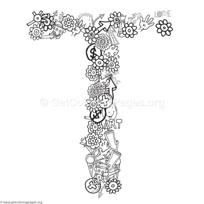 Letter T Coloring Pages Alphabet Letter Coloring Pages Also Floral