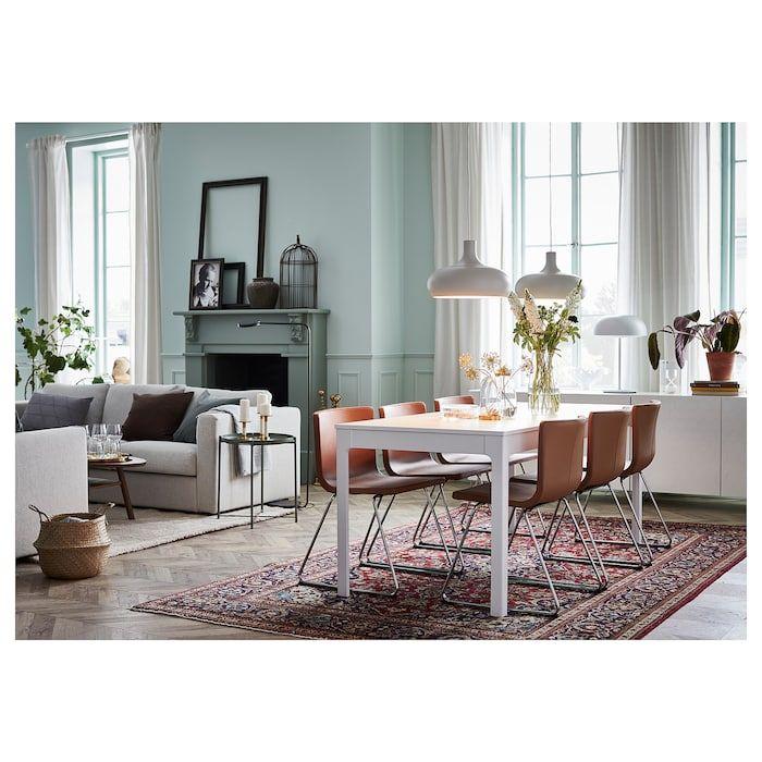 Ikea Eetkamer Stoelhoezen.Ekedalen Uitschuifbare Tafel Wit Eetkamer Meubelen