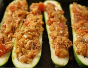 5-2 diet recipe turkey stuffed courgettes.  Substitute turkey with chicken or beans