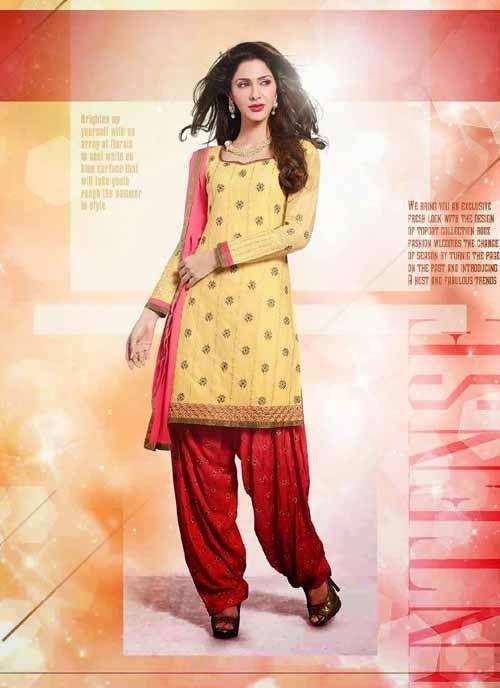 Exclusive Yellow & Pink Chiffon Based #Salwar #Suit With Zari Work #salwarkameez #ethnicwear #womenapparel #womendresses