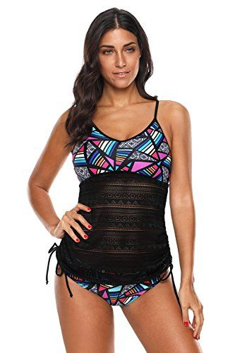 eca8fe3232 #Women #Swimsuit Two Piece Padded Bathing Suit Halter Printed Lace Mesh  Tankini Set Ladies Swimwear(Floral2-XLarge)