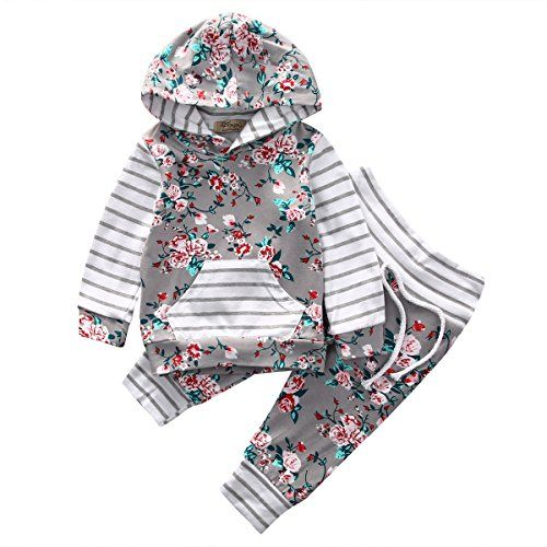 Baby Girl 2pcs Set Outfit Flower Print Hoodies with Pocket TopStriped Long Pants (6-12M Grey)